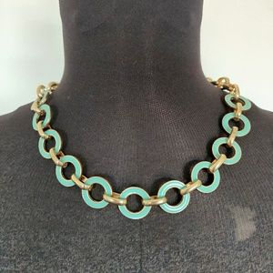 Turquoise & Gold Large Circle Link Choker Necklace